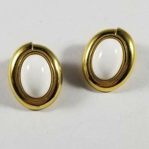 Monet Signed Gold Tone White Oval Clip On Earrings